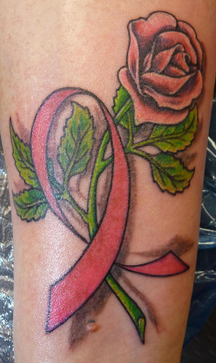 cancer ribbon rose by hoviemon on deviantart. Black Bedroom Furniture Sets. Home Design Ideas