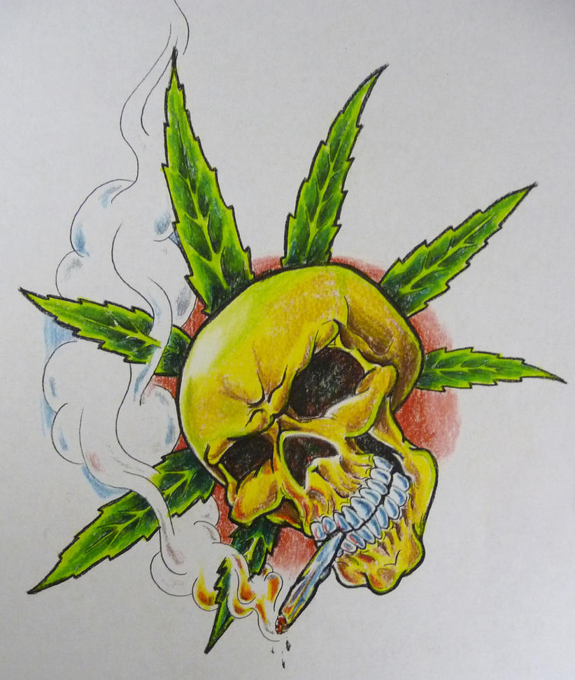 Cool Weed Leaf Drawings Pot skull flash by hoviemon