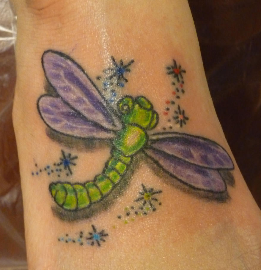 dragon fly on the foot - dragonfly tattoo