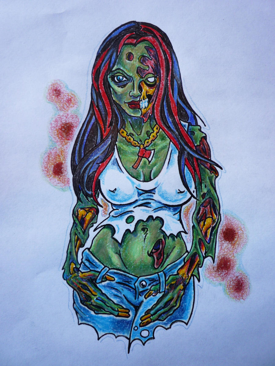 zombie girl tattoo by hoviemon on deviantart. Black Bedroom Furniture Sets. Home Design Ideas
