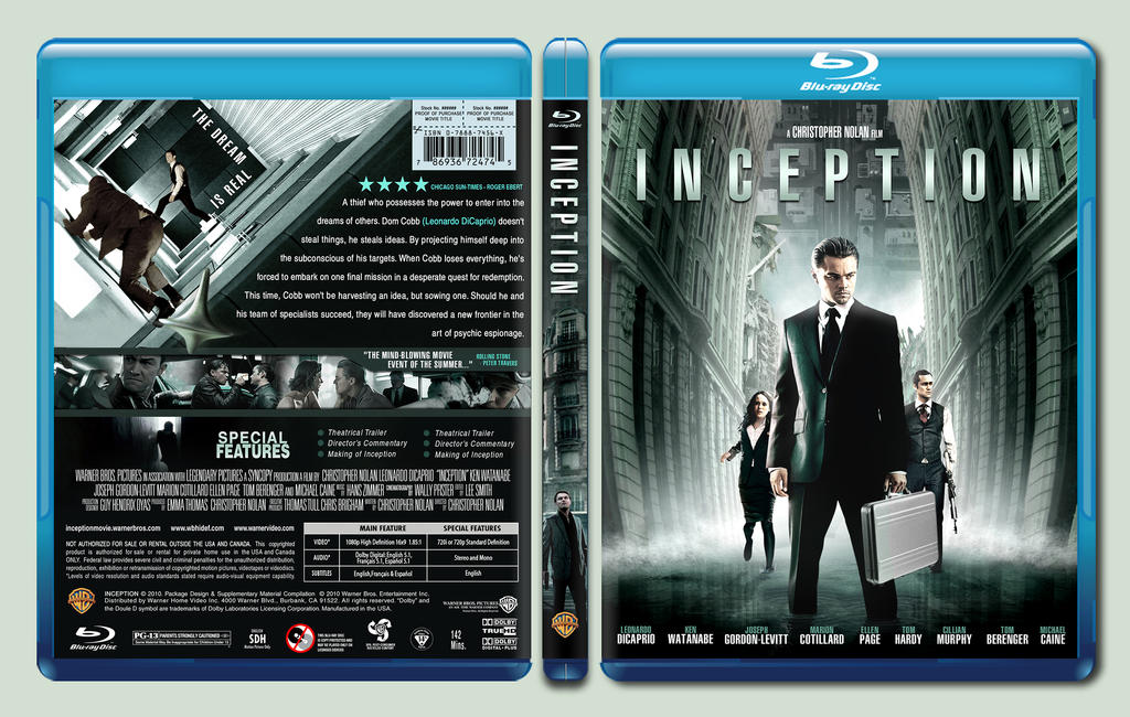 inception custom blu ray cover by rookerdesigns on deviantart. Black Bedroom Furniture Sets. Home Design Ideas