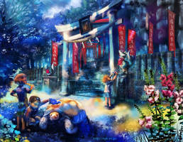 Japanism summer scenery by amatoy
