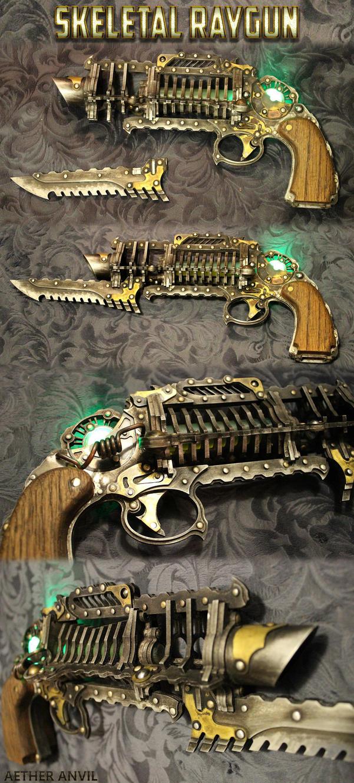 Skeletal Trench Gun - Steampunk Raygun by AetherAnvil