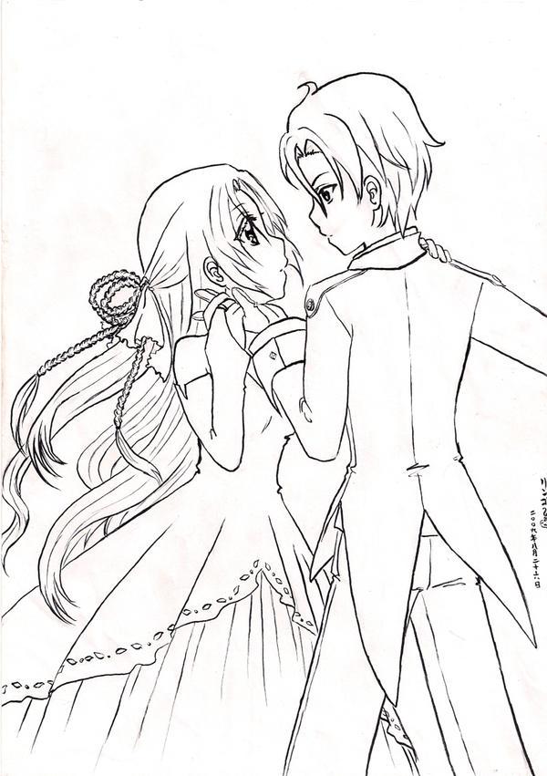 Line Art Couple : Kissing couple coloring pages