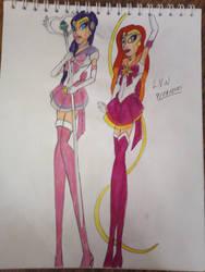 Sailor Sun and Sailor Milky Way by LordVaderNihilus