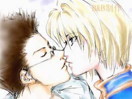 kurapika and leorio kiss by Blacksspirit