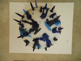 Blue ball melted crayon (2)