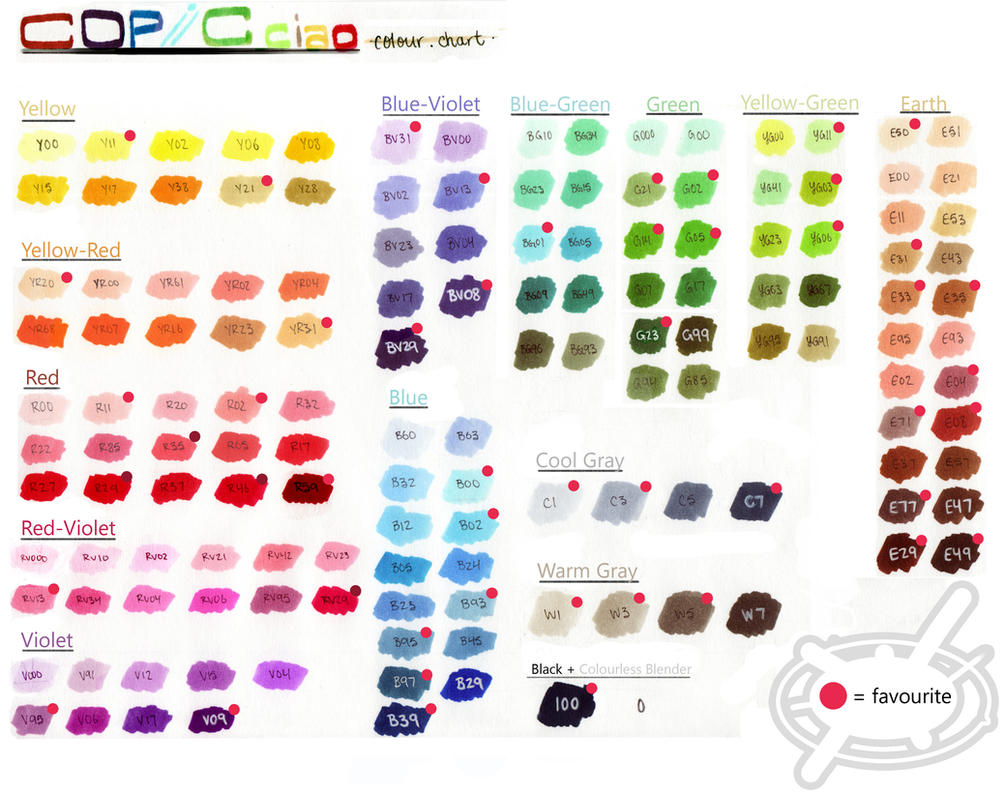 copic sketch chart: Copic ciao colour chart by chamoise on deviantart