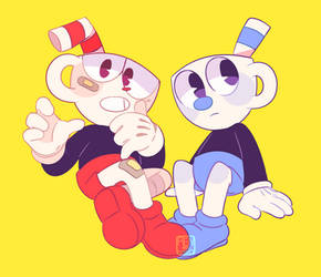 cuphead and mugman by Rensaven