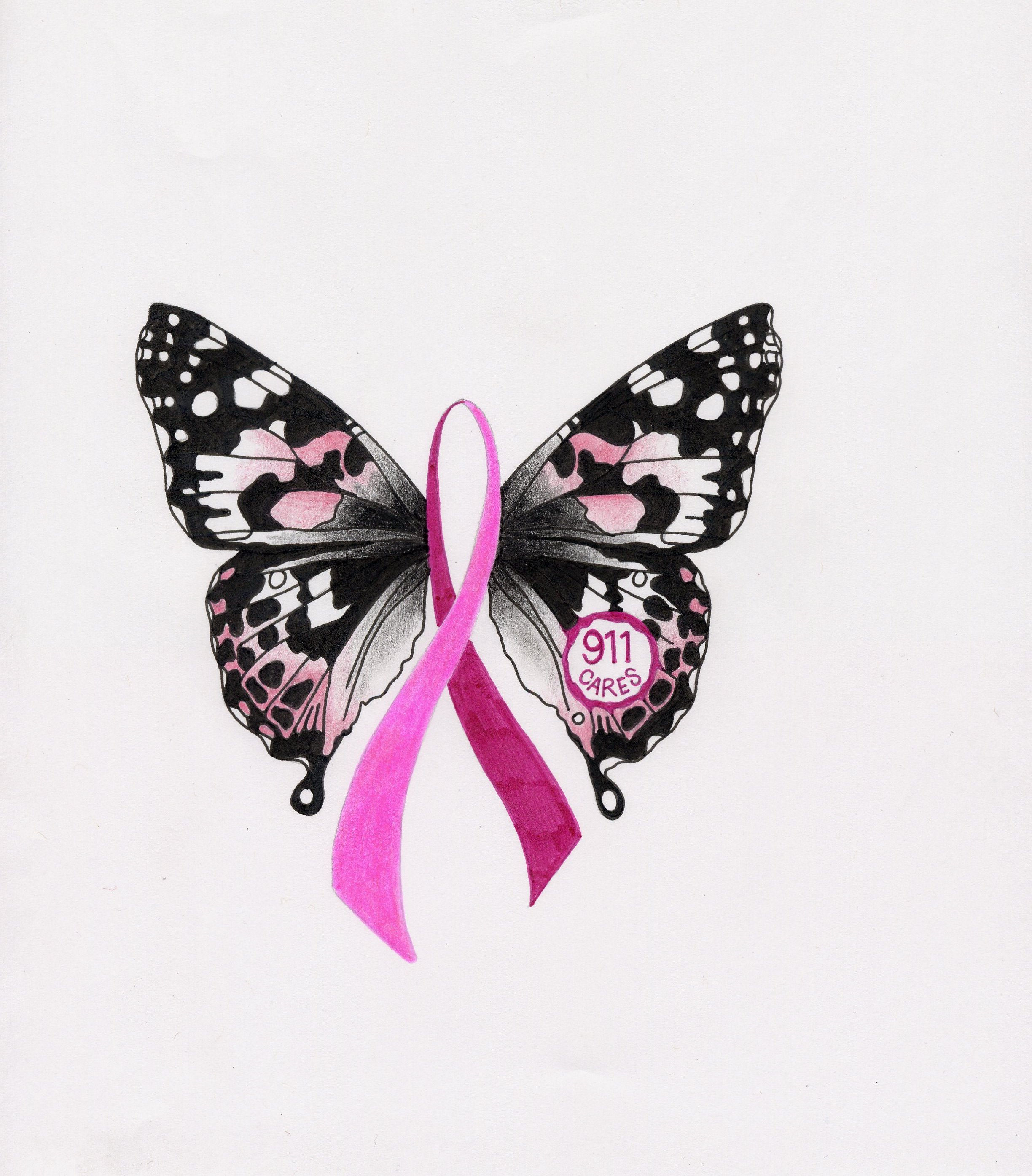 Misha 39 s blue october 2011 for Breast cancer butterfly tattoos