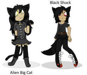 Alien Big Cat and Black Shuck by Wolfypoof