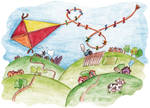 Funny kite and countryside
