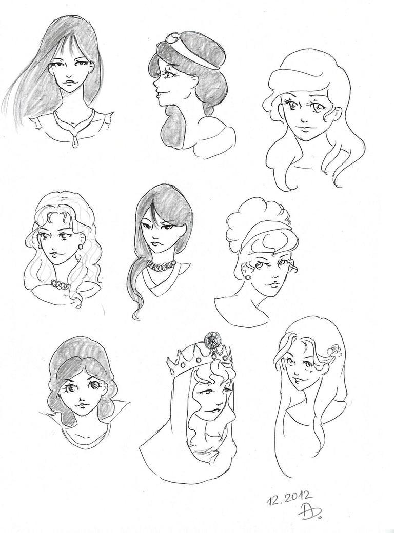 Sketch : Disney's Princesses by YERDUA on DeviantArt