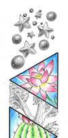 Tattoo Design: Peony-Lotus-Cactus