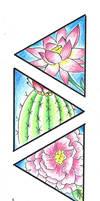Tattoo Design: Peony-Lotus-Cactus Variation