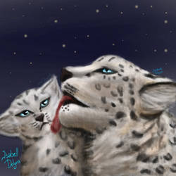 IsabellDelynx Snow leopard Mother With Cub