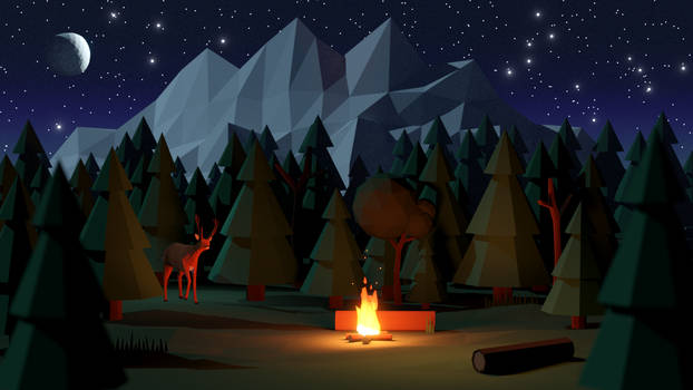 Night Forest: Low Poly Scene in Blender