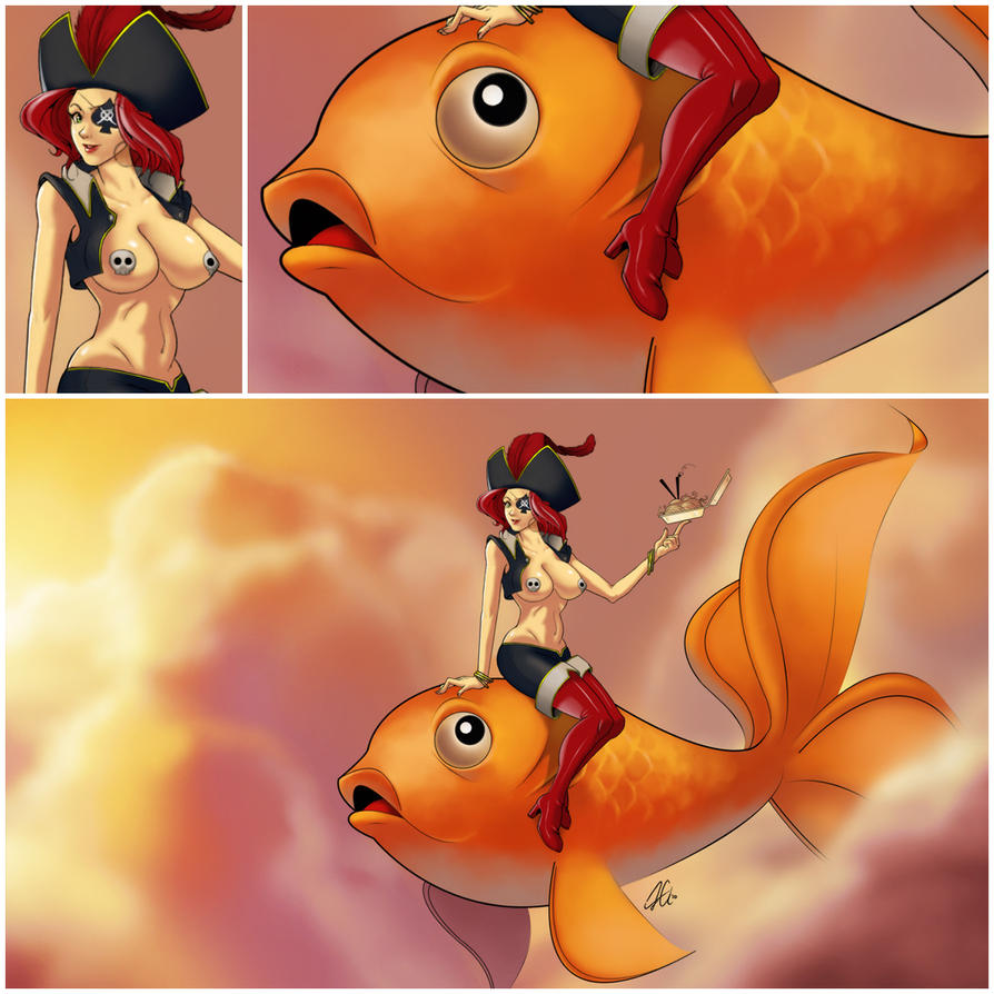 Gold-Fish Riding Pirate Babe by tranmonster