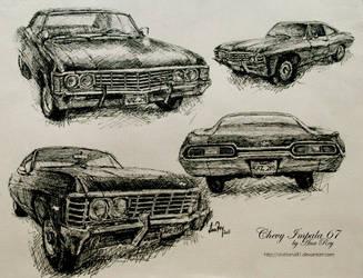 Chevy Impala 67 sketches by diablana81