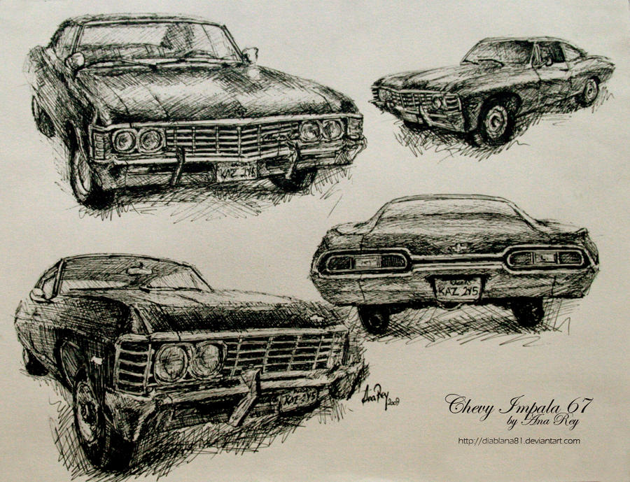 chevy impala 67 sketches by diablana81 on deviantart. Black Bedroom Furniture Sets. Home Design Ideas