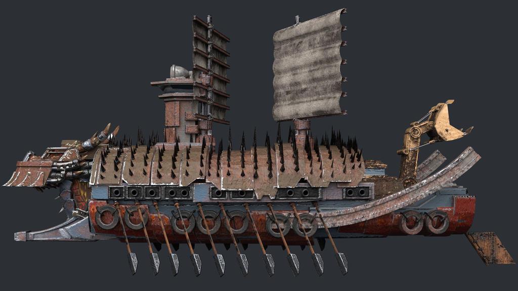 Apocalyptic Turtle Ship Side Render by Wu-Gene