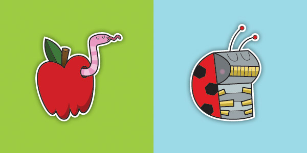 Worm and Ladybot buttons by NicholeKelley
