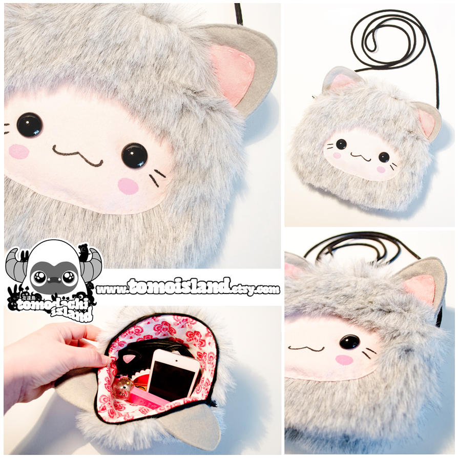 KITSUNE SHOULDER BAG - Grey Kawaii Fox ShoulderBag by TomodachiIsland