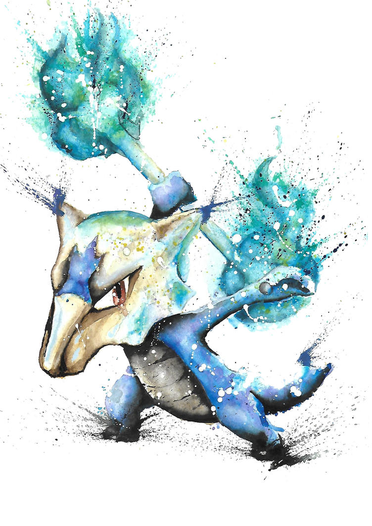 Alola Marowak watercolour by Butlerdude