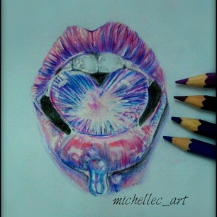 Realistic Mouth Drawing With Colour By Michellecart On Deviantart