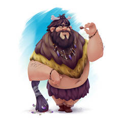Caveman big eater by leonid-deburger