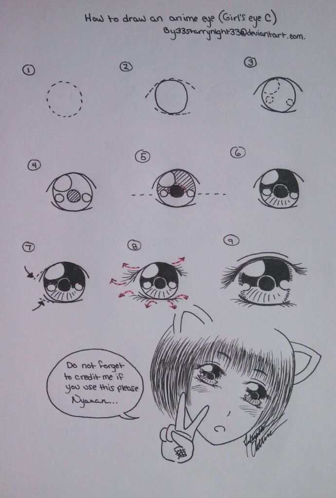 how to draw anime cat eyes