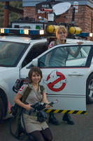 Ghostbusters Girls and Ecto-1 by Boomerjinks