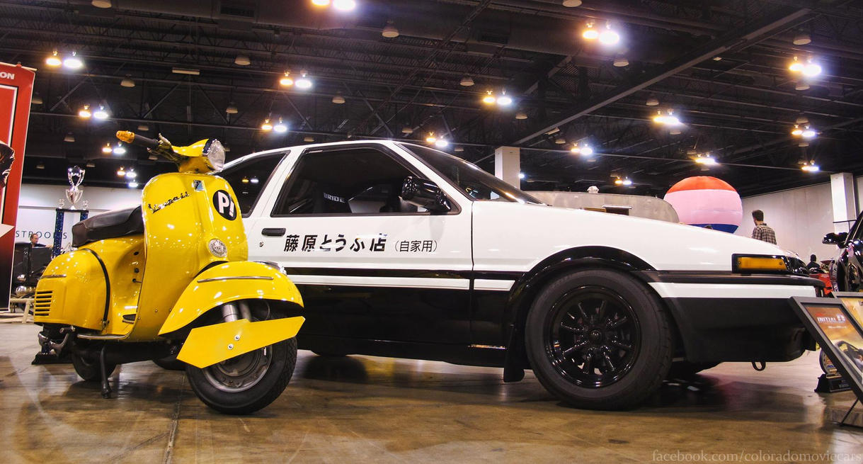 Initial D Toyota Trueno and FLCL Haruko's Vespa by Boomerjinks