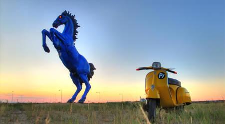 Ifria Cosplay -Haruko FLCL Vespa and the DIA Horse