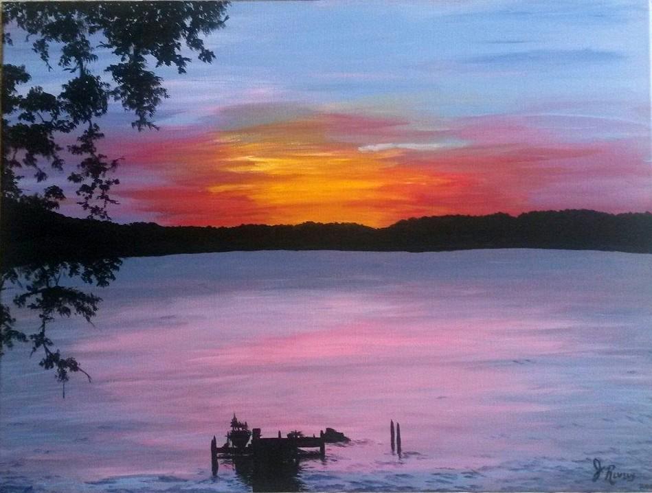 Sunset Lake  Acrylic Painting by KiwiHorizon
