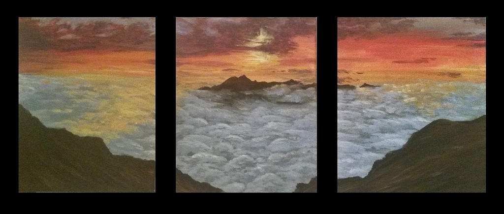 Sunset Mountain Painting by KiwiHorizon