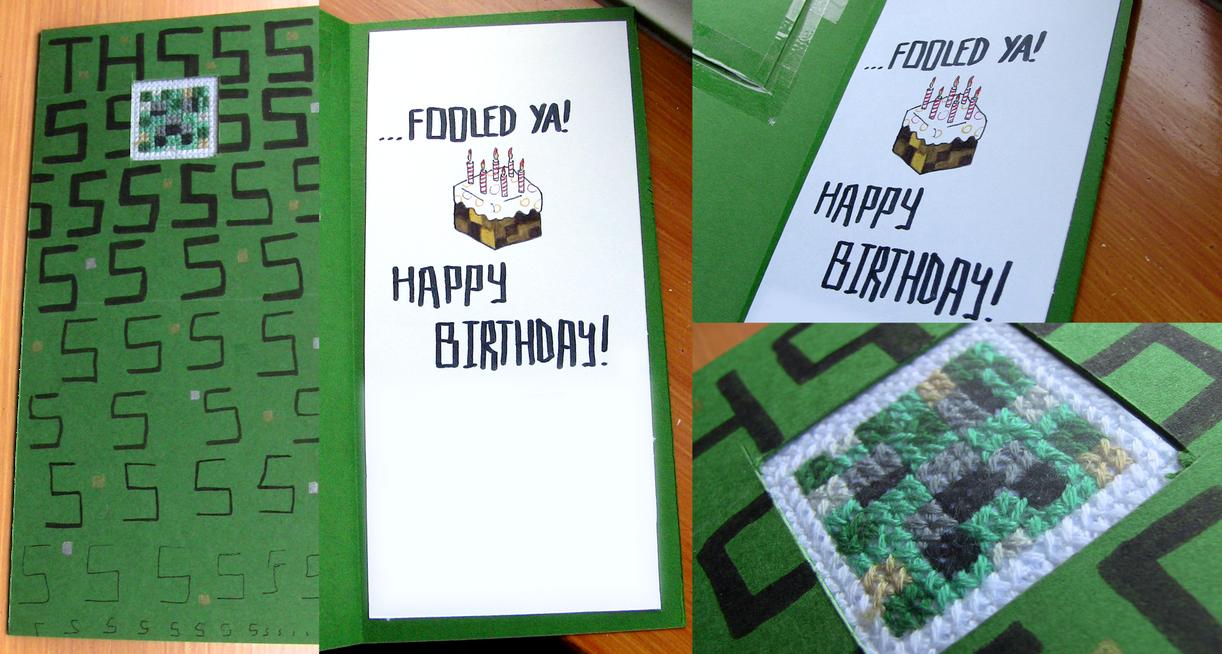 crossstitch window minecraft/creeper card by spektijim on deviantart, Birthday card