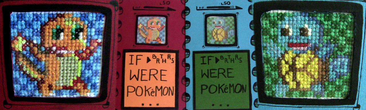 If Brothers Were Pokemon (XStitch Card) by spektijim