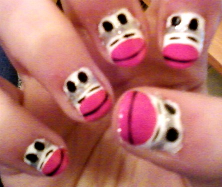 Sock Monkey Design on Nails by flirtybirdiee on DeviantArt