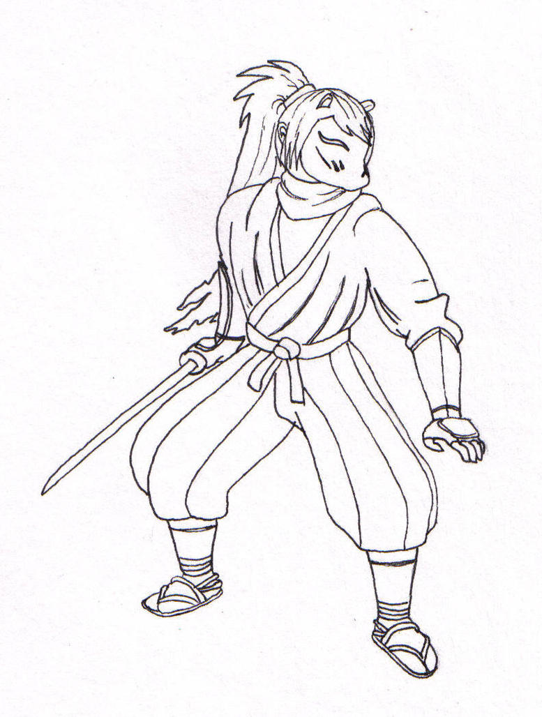 Line Art Ninja : Ninja char line art by suki red on deviantart