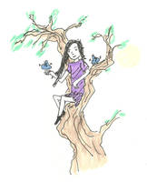 Girl in a tree with small aliens