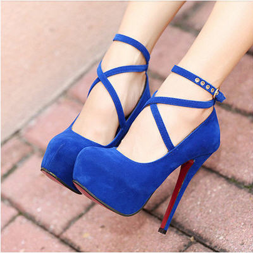 Royal Blue Heels With Strap