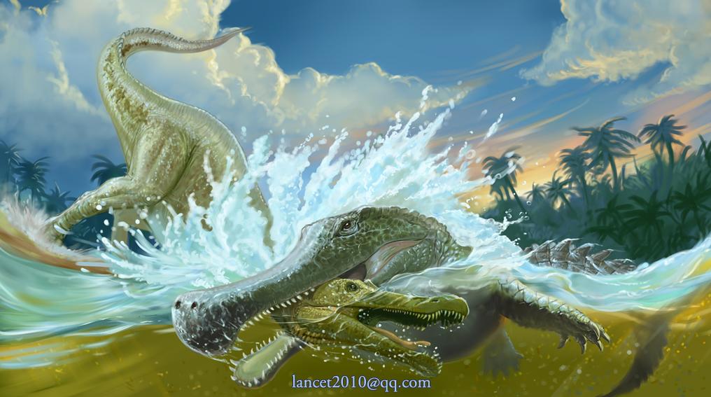 Sarcosuchus bite Suchomimus by Sakalyd on DeviantArt
