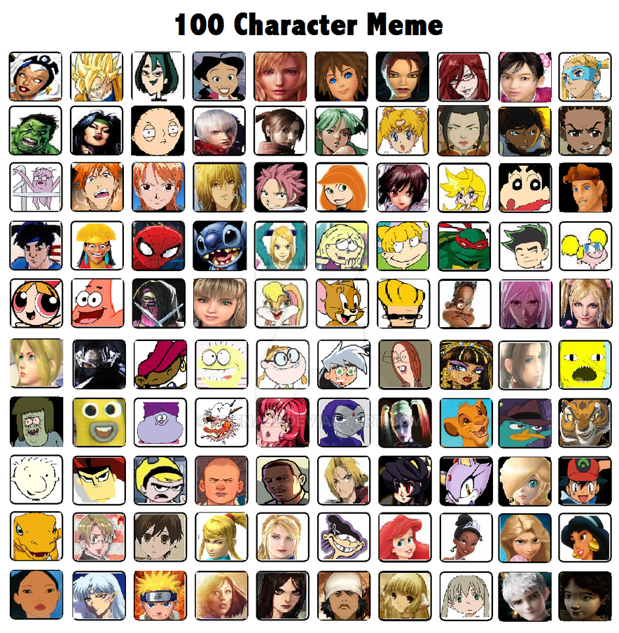 My 100 favorite Characters by Shena92