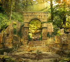 Ruins in forest. by utan77
