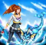 [FANART/OC] My PokemonGO trainer and her Vaporeon