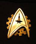 Close up of Steampunk Star Trek badge 2