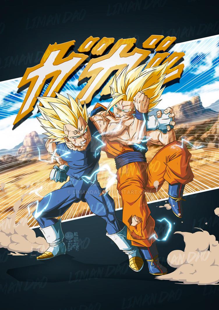 Endless battle Goku VS Majin Vegeta 2019 by limandao