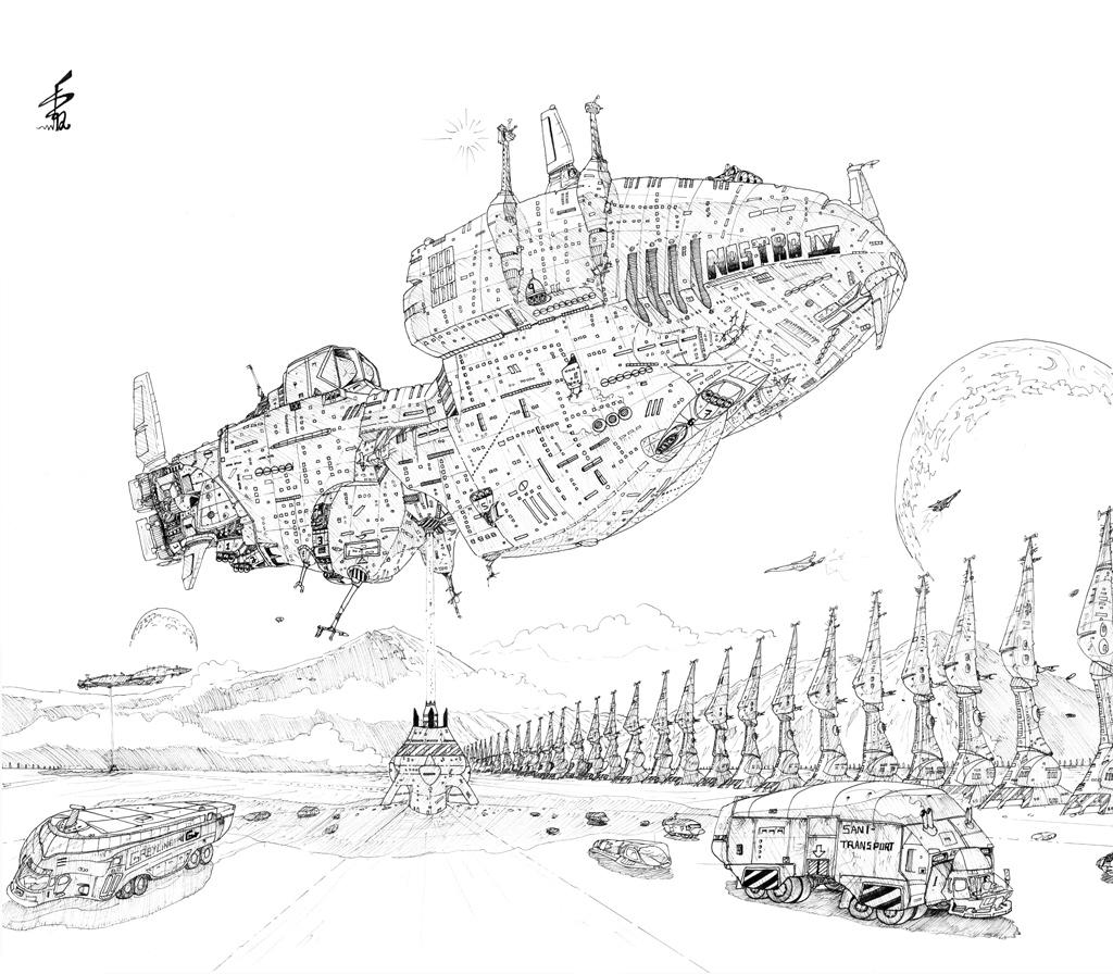 Nostro spaceship arrival by albator