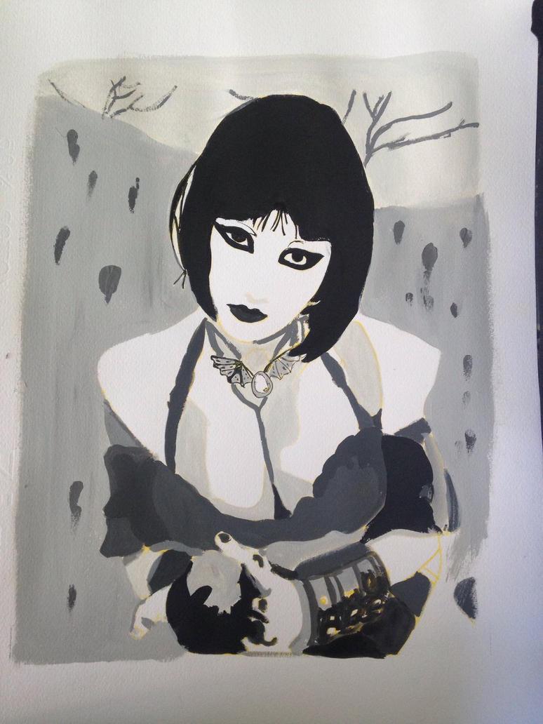Ariel Scarlett Sucubus Escala de grises  by Yue-Yuki